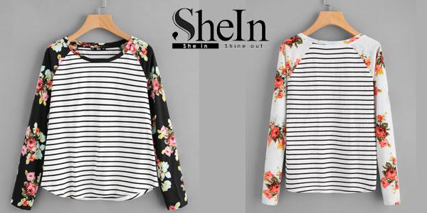 Camiseta a rayas Shein con estampado floral