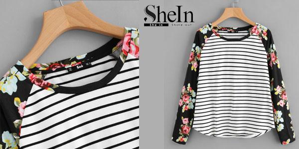 Camiseta a rayas Shein de manga raglán con estampado floral y bajo redondeado en color negro chollo en Shein