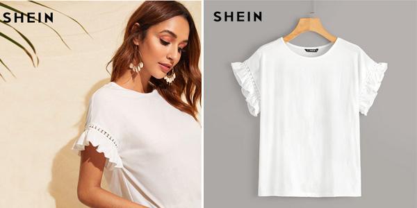 Camiseta Shein con volante en las mangas barata en AliExpress