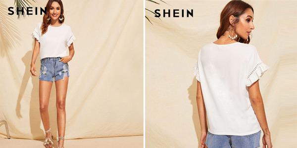 Camiseta Shein con volante en las mangas chollo en AliExpress