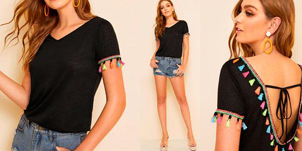 Camiseta Shein con borlas de colores para mujer barata