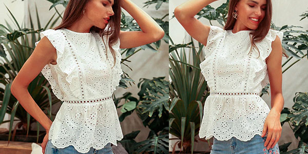 Camiseta Simplee tipo peplum sin mangas para mujer barata