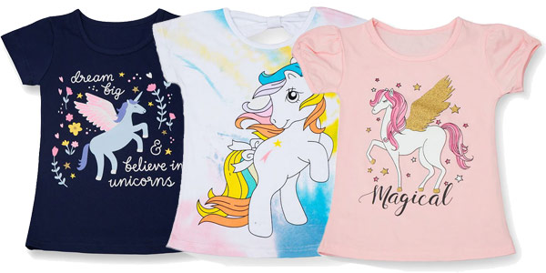 Camisetas de manga corta para niña con estampado de unicornios chollo en AliExpress