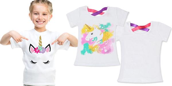 Camisetas de manga corta para niña con estampado de unicornios baratas en AliExpress
