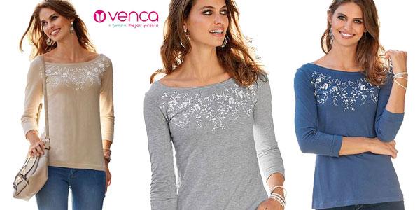 Camiseta Venca para mujer con manga tres cuartos barata en AliExpress Plaza