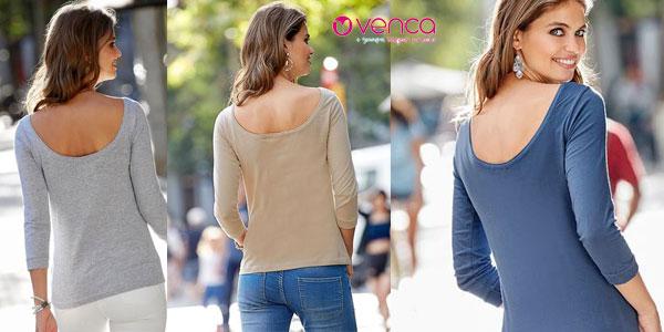 Camiseta Venca para mujer con manga tres cuartos en varios colores