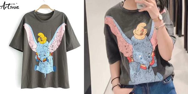 Camisetas Dumbo de manga corta para mujer baratas en AliExpress