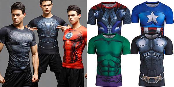 Camisetas superhéroes licra