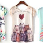 Selección de Camisetas de manga corta estampadas para mujer baratas en AliExpress