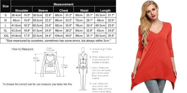 Tallas y medidas camisetas Finejo para mujer