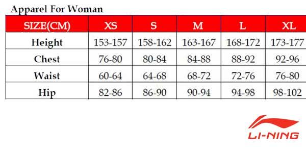 Tallas y medidas camisetas running Li-Ning para mujer