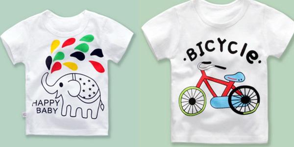 Camisetas para niños y niñas pequeños de algodón con varios diseños baratas