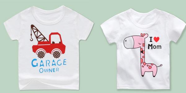 Camisetas para niños y niñas pequeños de algodón con varios diseños