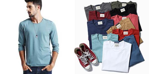 Camiseta manga larga Simwood 100% algodón para hombre chollo en AliExpress