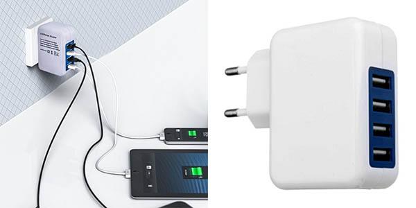 Cargador USB de pared con 4 puertos