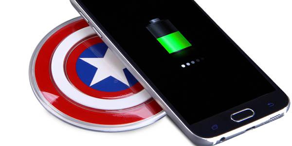 Cargador inalámbrico Qi Escudo Capitán América