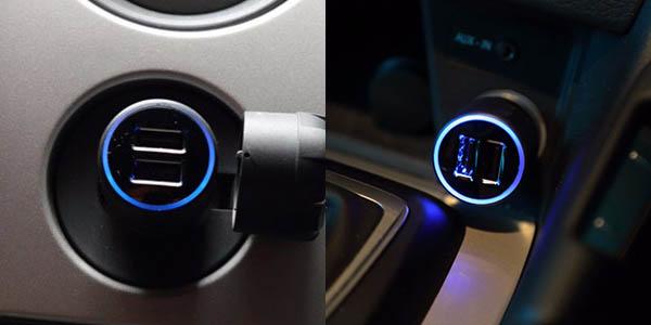 Cargador USB coche iluminado