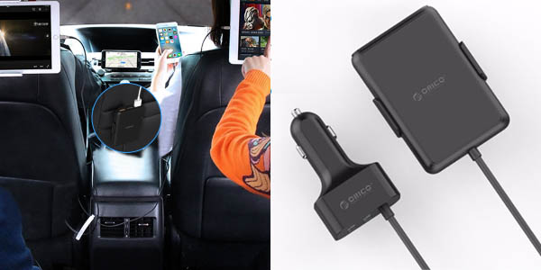 Cargador USB para coche OricoUCP-5P con 2 USB + 3 USB para los asientos traseros