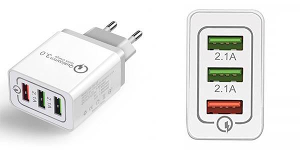 Cargador USB de pared con 3 puertos USB QC 3.0