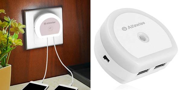Cargador USB Alfawise de pared 2 puertos + luz LED