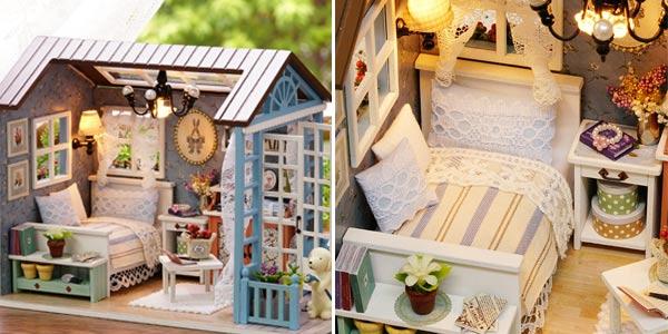 Casa de muñecas en miniatura para montar barata en AliExpress
