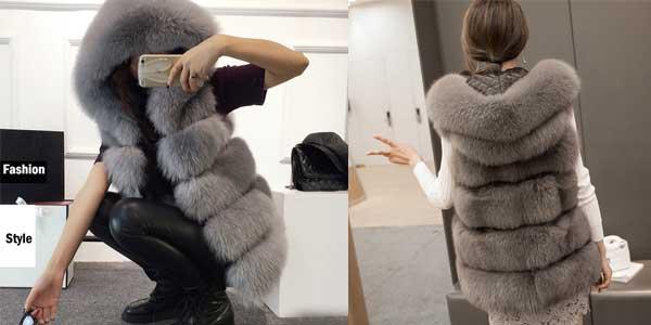 Chaleco piel sintética Toonies con capucha para mujer en varios colores chollazo en AliExpress
