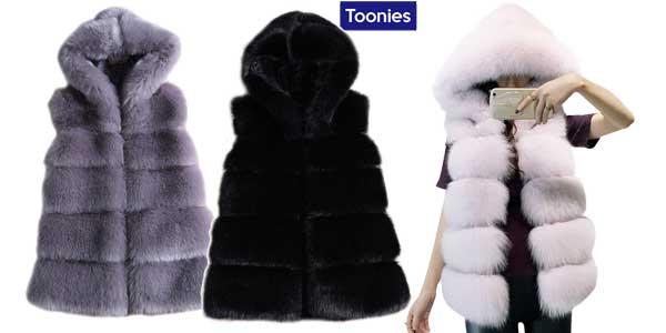 Chaleco piel sintética Toonies con capucha para mujer en varios colores barato en AliExpress