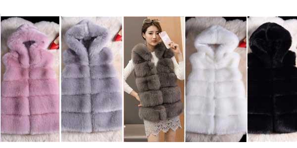 Chaleco piel sintética Toonies con capucha para mujer en varios colores chollo en AliExpress