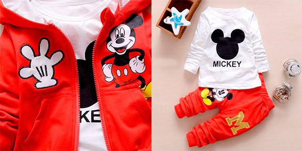 Chándal de Mickey con capucha en varios modelos para bebé barato
