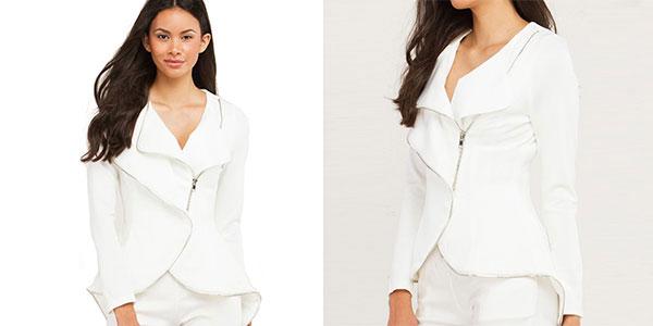 Chaqueta blazer corta blanca para mujer barata