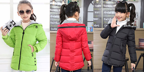 Chaqueta de invierno con capucha para niña barata