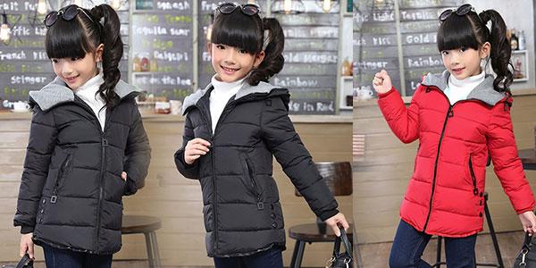 Chaqueta de invierno con capucha en varios colores para niña al mejor precio
