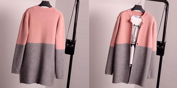 Cardigan de punto de algodón bicolor para mujer chollo en AliExpress