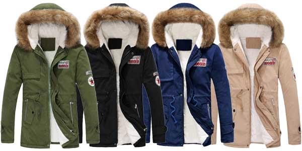 Chaquetón de invierno con capucha para hombre chollo en AliExpress