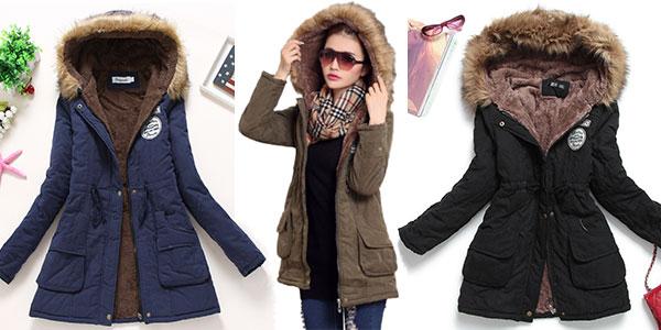 Chaquetón de invierno con capucha en varios colores para mujer barato