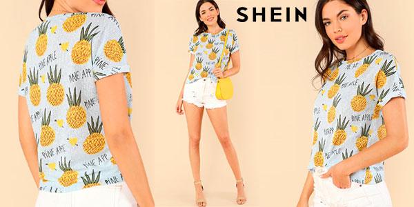 Chollo Camiseta Shein de piñas para mujer