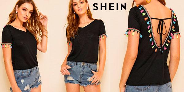 Chollo Camiseta Shein con borlas de colores para mujer