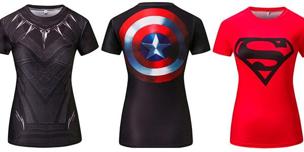 Camisetas de superhéroes para mujer baratas