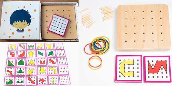 Chollo Tablero creativo Montessori de madera para hacer figuras
