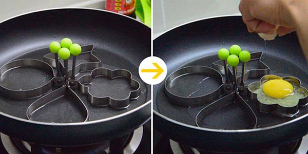 Chollo Moldes de acero inoxidable para hacer huevos fritos