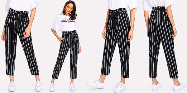 Chollo Pantalón a rayas con cintura alta para mujer