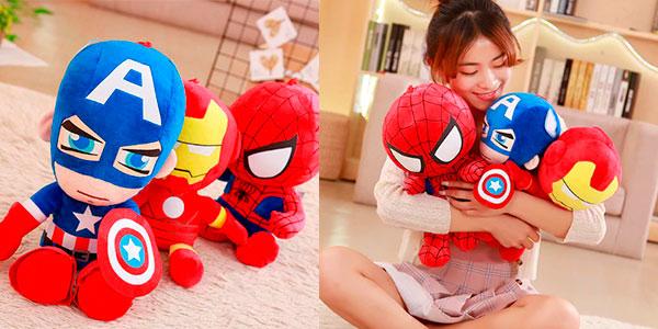 Peluches de Capitán América, Iron Man y Spiderman de 25 cm muy baratos