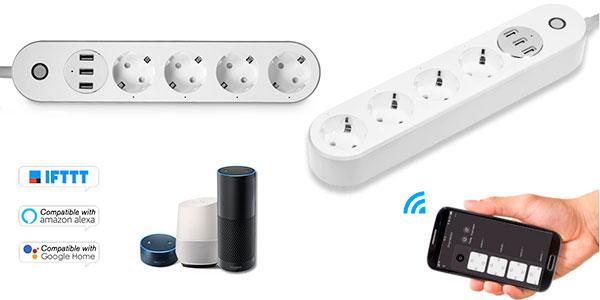 Chollo Regleta inteligente Wi-Fi con 4 tomas de corriente y 3 puertos USB