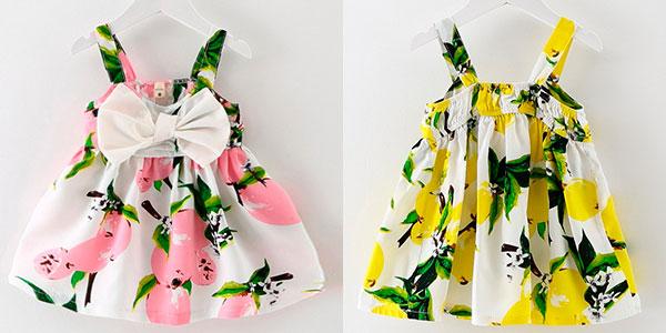 Chollo Vestido de algodón de flores con lazo para bebé