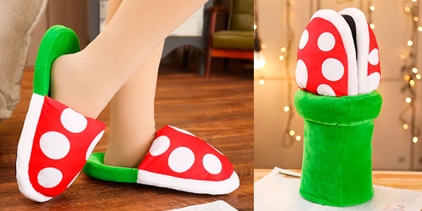 Chollo Zapatillas de estar por casa Planta Piraña de Super Mario