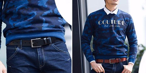 Cinturón de cuero genuino Cowather para hombre en AliExpress