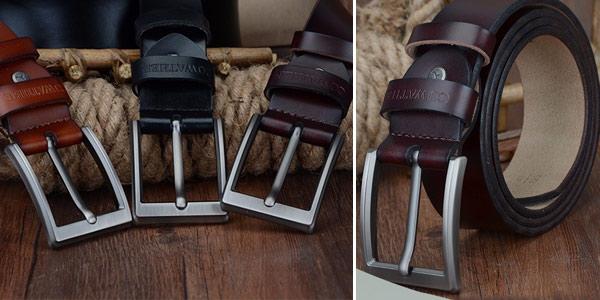 Cinturón de cuero genuino Cowather para hombre barato