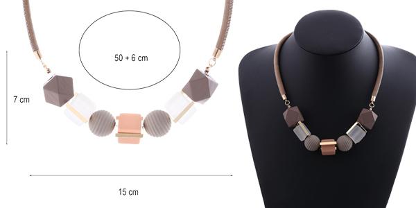 Collar de madera con abalorios geométricos para mujer chollo en AliExpress