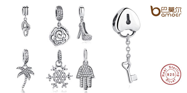 Colgantes Bamoer de plata de ley con sello de autenticidad 925 para pulseras Pandora chollazo en AliExpress