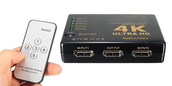 Conmutador HDMI con 5 entradas y 1 salida barato en BangGood